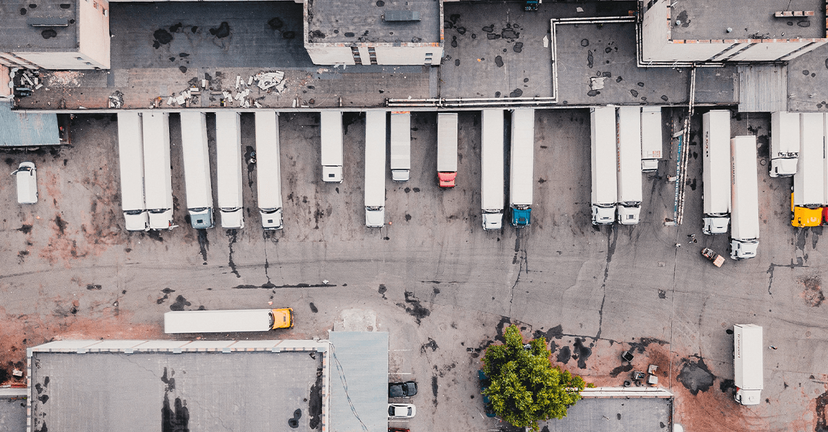 Birds eye view image of HGVs in loading bays
